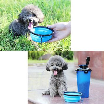 Pet Water Bottle 2 in 1 Travel Portable Water Bottle Pet Dispenser Food Container Pet Mug for Cats Dogs Pet