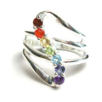 "Sterling Chakra ""Go with the Flow"" Ring"