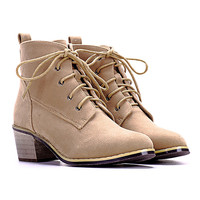 Khaki Lace Up Ankle Boots - Choies.com