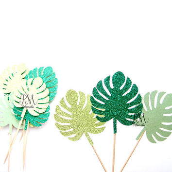 12 Mixed Tropical Leaf Cupcake Toppers - Luau Cupcake Toppers, Luau Birthday, Tropical Party, Monster Leaf Cupcake Toppers, Luau Wedding