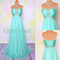 Sweetheart light green chiffon long beaded prom dress, graduation dress, party dress