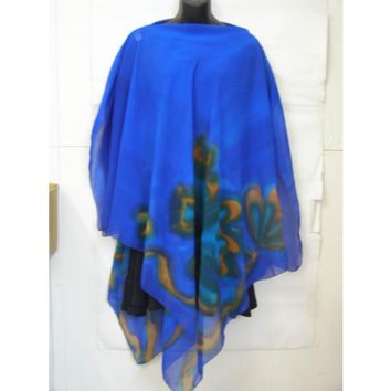 Bright Blue Silk Poncho With Florals