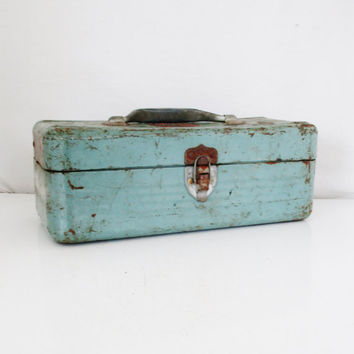 Metal Box Vintage Industrial Box Blue Metal Tool Box Tackle Box Vintage Metal Fishing Box Aqua Metal Box Industrial Storage Rusty Metal Box