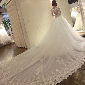 Wedding Dress Full Dress 2016 New Long Sleeve Hannah With Fund Marry Bride One Shoulder Long Tailing Wedding Dress Autumn