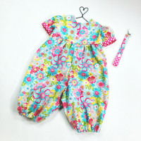 9 month girls romper baby romper and paci clip summer romper bubble romper baby jumpsuit blue and pink floral romper pacifier clip