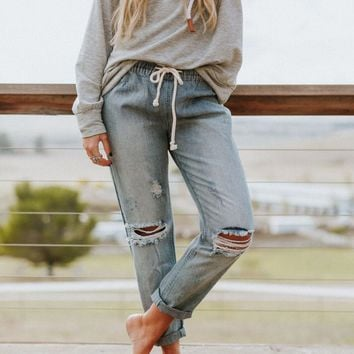 On The Road Crop Boyfriend Denim Jeans - Denim
