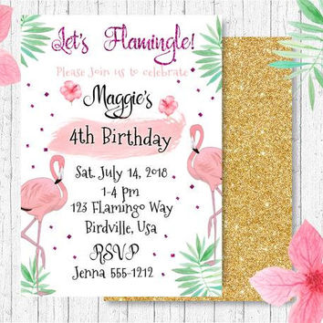 Flamingo Birthday Party Invitation - Tutti Frutti Invitation - Flamingle Party Invitation - Girls Birthday Party Invitation - PRINTABLE