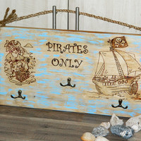 Wall rack-Boys Nursery decor-Pirates-Kids Coat Rack-clothes rack-home decor-Wood Organizer-sea ocean-Baby shower gift-clothing-Hooks-Hook