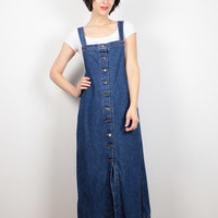 Vintage 80s Dress Denim Dress Midi Dress Blue Jean Jumper 1980s Dress Overalls Dress Pinafore Normcore Dress Dungarees Dress M L Large XL
