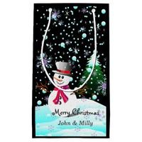 "Snowman ""Merry Christmas"" personalised Small Gift Bag"