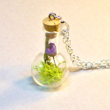 Glass Bottle Necklace Terrarium Pendant Purple Flower and Moss Fairy Garden Nature Jewelry