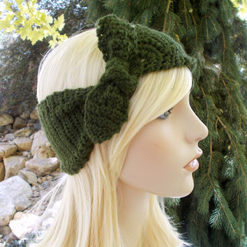 Green Tie Knot Bow Crochet Headband