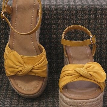 Suede Bow Open Toe Espadrille Platform Wedge