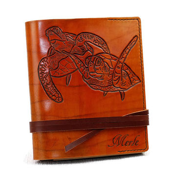 """Turtle Leather Journal 7""""x9"""" Personalized Journal Notebook Diary Custom Journal TiVergy Book Gift for Him Gift for Her Journal"""