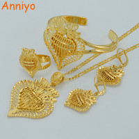 Anniyo Heart Jewelry sets Ethiopian Necklaces Earrings Ring Bangle Gold Color & Brass,Arab/Africa Wedding Bride's Dowry #020506