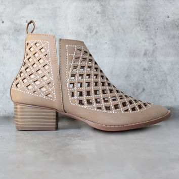 vegan leather cutout booties - more colors
