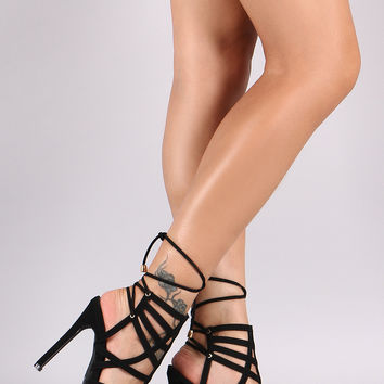 Caged Back Lace-Up Stiletto Heel