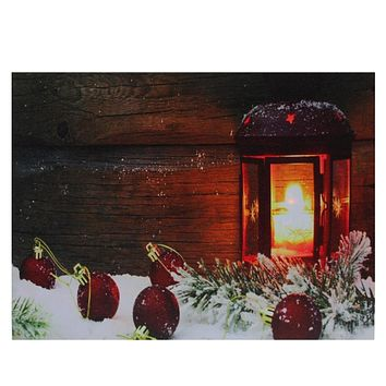 "LED Lighted Candle Lantern in the Wintry Outdoors Christmas Canvas Wall Art 12"" x 15.75"""