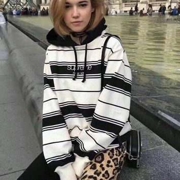 Supreme Trending Women Personality Embroidery Letter Stripe Loose Hoodie Pullover Top Sweater I
