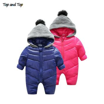 Top and Top Thick Warm Infant Baby Rompers Winter Clothes Newborn Baby Boy Girl Jumpsuit Zipper Hooded Kid Outerwear Snowsuit