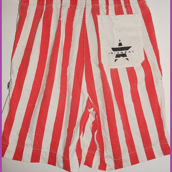 Vintage 80s Union Bay Red Stripe Nautical Shorts