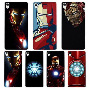 Superhero ironman White Phone Case Cover for Sony Xperia Z1 Z2 Z3 Z4 Z5 M4 Aqua C4 XA XZ E4 E5 L36H