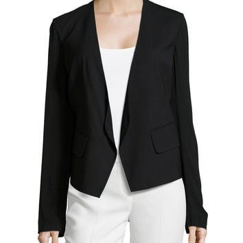 Long-Sleeve Open-Front Jacket, Black, Size: