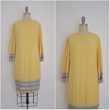Vintage 1960s Julie Inc. Detroit Yellow Silk Beaded Dress
