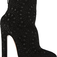 Alaïa - Embroidered suede ankle boots
