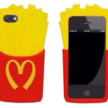 NEW Soft 3D rubber phone cases Funny Mcdonald's French Fries Chips Soft Silicone Case Cover For iphone 4G/4S/5G/5S/6G/6 Plus