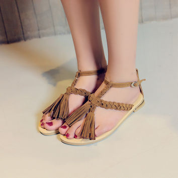 Flats Sandals with Tassel Women Shoes