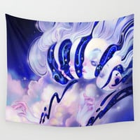 Moon Faces Wall Tapestry by Valérie Bastille ✧
