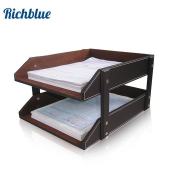 Ever Perfect Double-Layer PU Leather File Document Tray Shelf Storage Box Desk Organizer