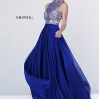 Sherri Hill 1964 Long Dress Sleeveless Jewel Neckline Iridescent Chiffon