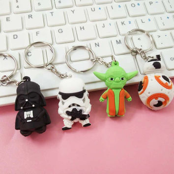 2017 New Star Wars Figures toy Black Knight Darth Vader Stormtrooper BB8 Yoda model Action Figures toys keychain bag ornaments
