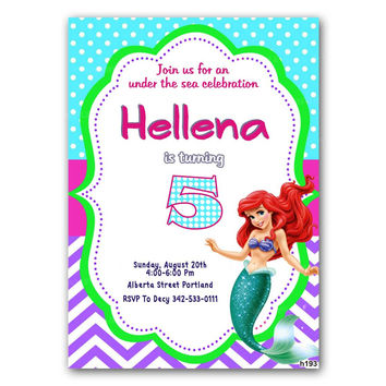 Little Mermaid Ariel Birthday Party Invitation Kids Birthday Invitation Party Design