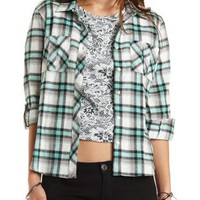 Lace Cut-Out Plaid Button-Up Top - Light Green Combo