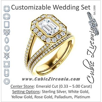 CZ Wedding Set, featuring The Maricela engagement ring (Customizable Bezel-Halo Emerald Cut Ring with Wide Tapered Pavé Split Band & Decorative Trellis)