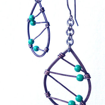 Wire Wrapped Teardrop Dangles by erinaustin on Etsy