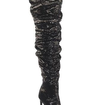 Dazzle-01 Sequin Thigh High Boot (More Colors)