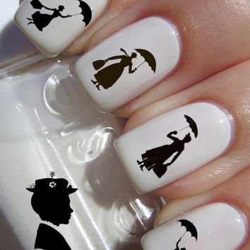 Mary Poppins Silhouette Waterslide or Peel & Apply Nail Art Decal Transfer x20 Images Adult Kid Sz