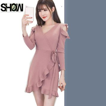 Cute Mini Sexy Dresses Hot Women Korean Style Design Long Sleeve Ladies Little Black Yellow Pink Ruffled V Neck Mermaid Dress