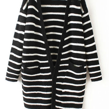 Striped Pockets Color Block Long Sleeve Coat