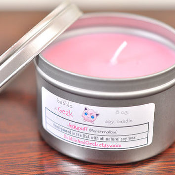Jigglypuff (Marshmallow) Scented Soy Candle Tin - 8 oz. tin - Pokemon Inspired - Pink