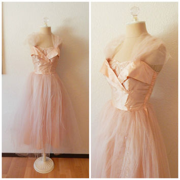 Vintage 50s Peggy Sue Old Hollywood Glamour Crinoline Pink Taffeta Sequin Formal Rockabilly Prom Dress XSmall 2
