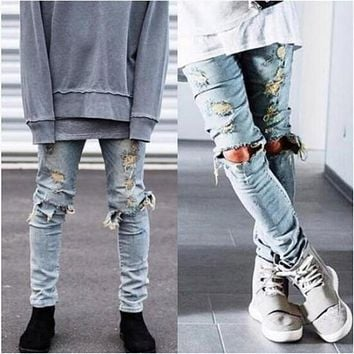 High Quality Men Ripped Jeans Destroyed Jeans Mens Hip Hop Zipper Biker Denim Pants Justin Bieber Ripped Jeans for Men