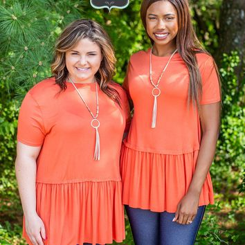 Ash Copper Peplum Top