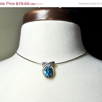 ON SALE Vintage CLYDE Duneier 925 Silver & Blue Topaz Slide Pendant Necklace, Oval, Swirl, Signed, 925 Italy Omega Chain, Superb! #A991