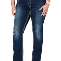 Pyramid Embroidered Slim Boot Jean in Curvy