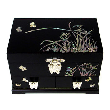 Mother of Pearl Orchid Butterfly Black Lacquer Wooden Jewelry Trinket Keepsake Treasure Ring Drawer Box Chest Case Organizer